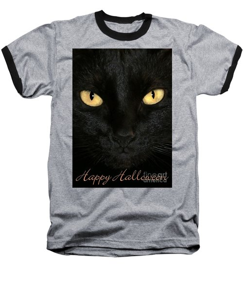 Black Cat Halloween Card Baseball T-Shirt