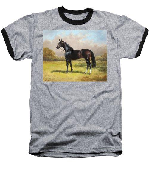 Black English Horse Baseball T-Shirt