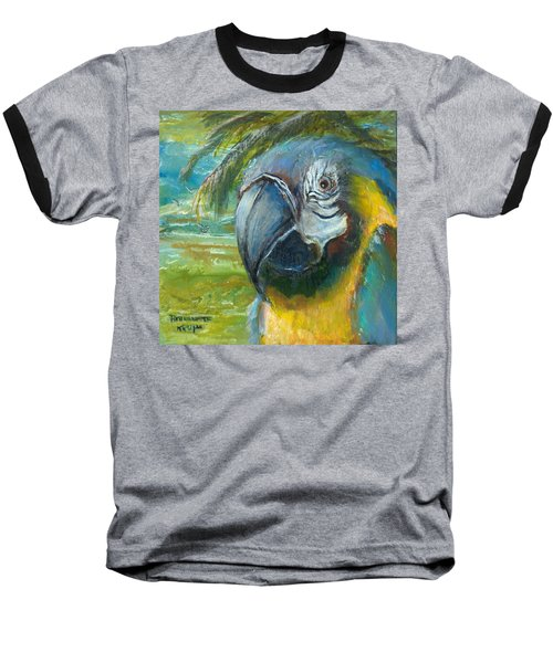Blue And Gold Macaw By The Sea Baseball T-Shirt by Bernadette Krupa