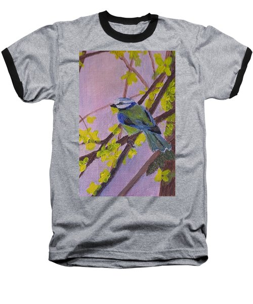 Baseball T-Shirt featuring the painting Blue Bird by Christy Saunders Church