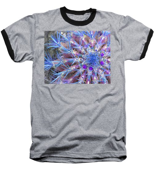 Blue Cactus Baseball T-Shirt by Rebecca Margraf