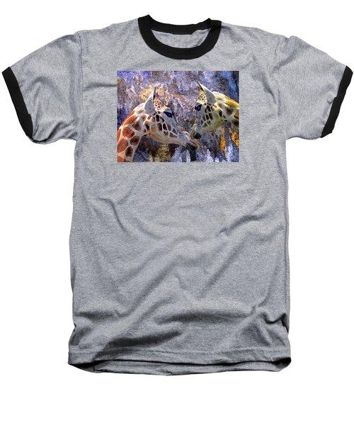 Blue Cave Giraffes Baseball T-Shirt