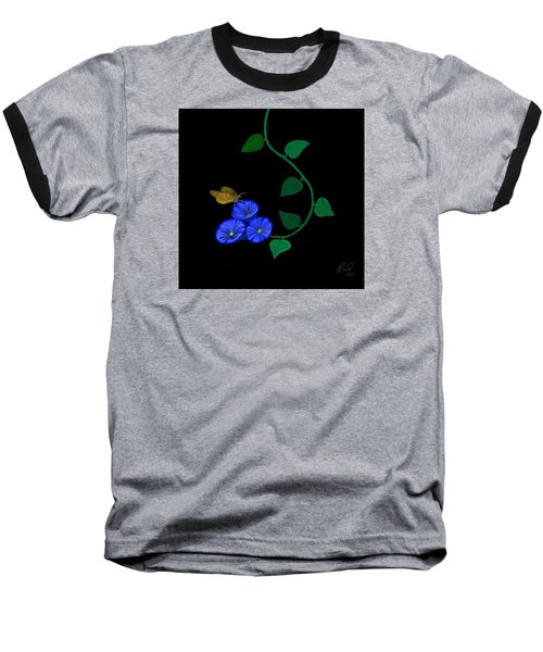 Blue Flower Butterfly Baseball T-Shirt by Rand Herron