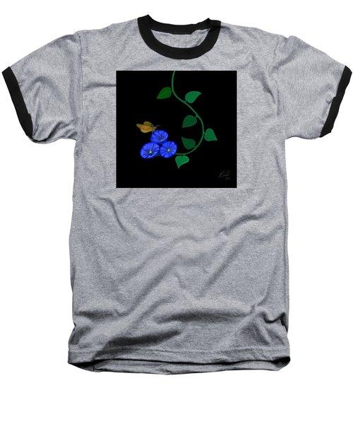 Blue Flower Butterfly Baseball T-Shirt