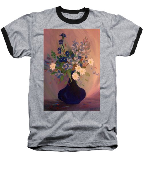 Baseball T-Shirt featuring the painting Blue Flowers 2 by Christy Saunders Church