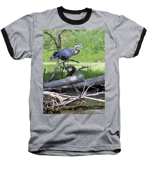 Baseball T-Shirt featuring the photograph Blue Heron At The Lake by Debbie Hart