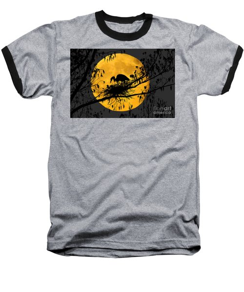 Baseball T-Shirt featuring the photograph Blue Heron On Roost by Dan Friend