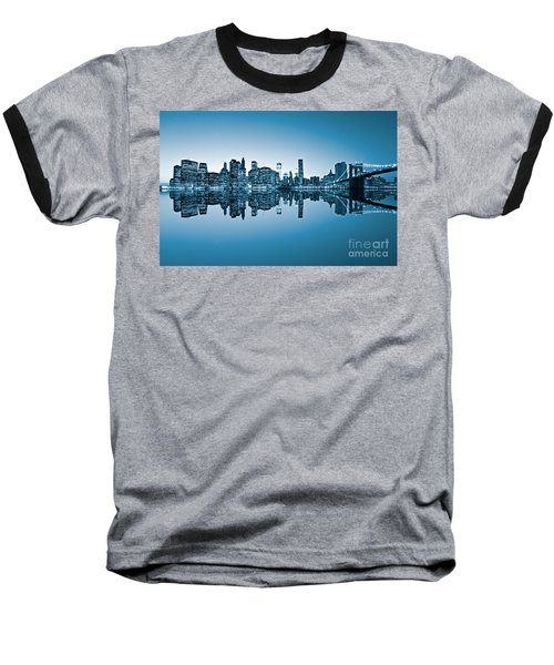 Baseball T-Shirt featuring the photograph Blue New York City by Luciano Mortula