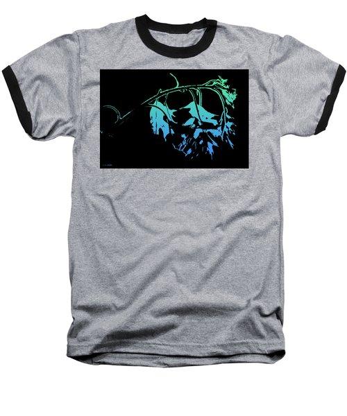 Blue On Black Baseball T-Shirt