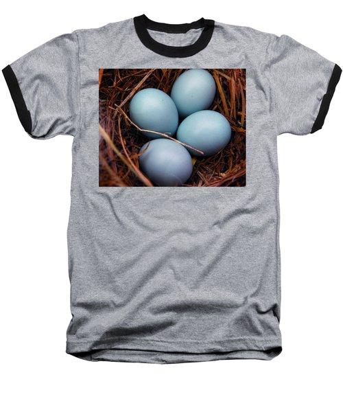 Blue Promises Baseball T-Shirt by Judy Wanamaker