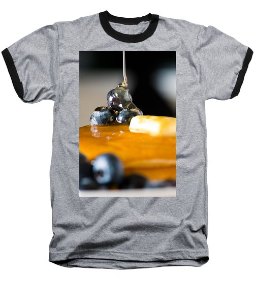 Blueberry Butter Pancake With Honey Maple Sirup Flowing Down Baseball T-Shirt