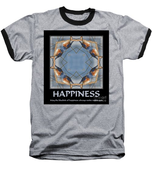 Bluebird Kaleidoscope Happiness Baseball T-Shirt by Smilin Eyes  Treasures