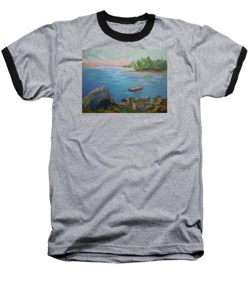 Baseball T-Shirt featuring the painting Boat And Bay by Francine Frank