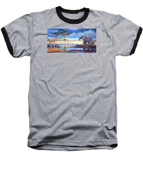 Botswana Watering Hole Baseball T-Shirt