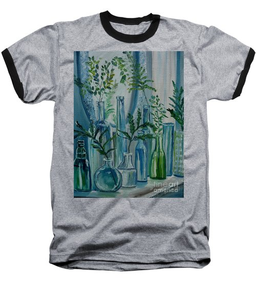 Baseball T-Shirt featuring the painting Bottle Brigade by Julie Brugh Riffey
