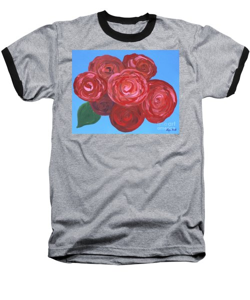 Baseball T-Shirt featuring the painting Bouquet Of Roses by Alys Caviness-Gober