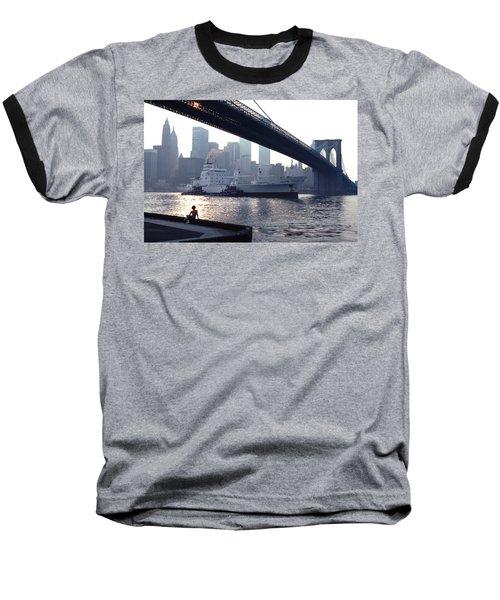 Boy Freighter Brooklyn Bridge Sunset Baseball T-Shirt