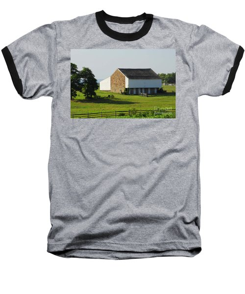Baseball T-Shirt featuring the photograph Brian Barn At Gettysburg by Cindy Manero