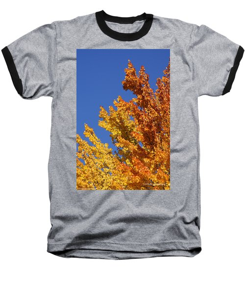 Brilliant Fall Color And Deep Blue Sky Baseball T-Shirt by Mick Anderson