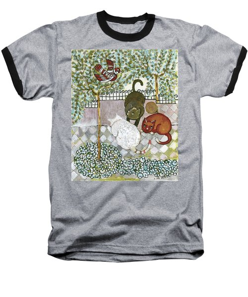 Brown And White Alley Cats Consider Catching A Bird In The Green Garden Baseball T-Shirt