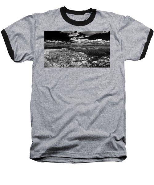 Bryce Canyon Ampitheater - Black And White Baseball T-Shirt by Larry Carr