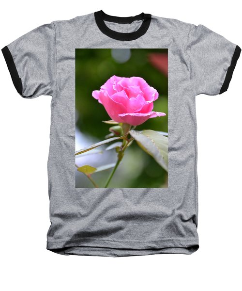 Bubblegum Rose Baseball T-Shirt by Bonnie Myszka
