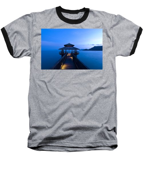 Building At The End Of A Jetty During Twilight Baseball T-Shirt