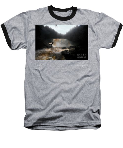 Baseball T-Shirt featuring the photograph Bull Elk In Front Of Waterfall by Dan Friend