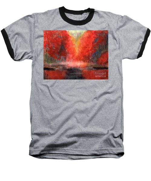 Burning Lake Baseball T-Shirt by Yoshiko Mishina