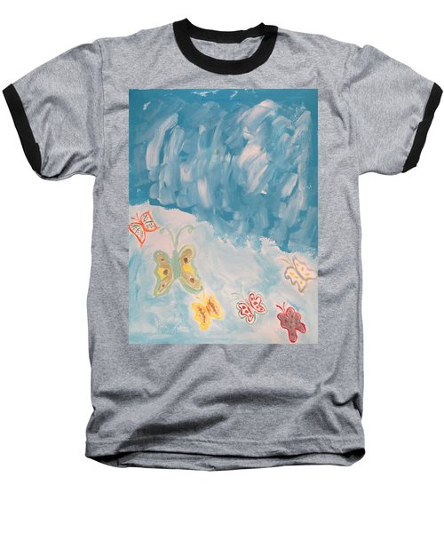 Baseball T-Shirt featuring the painting Butterfly Flight by Sonali Gangane