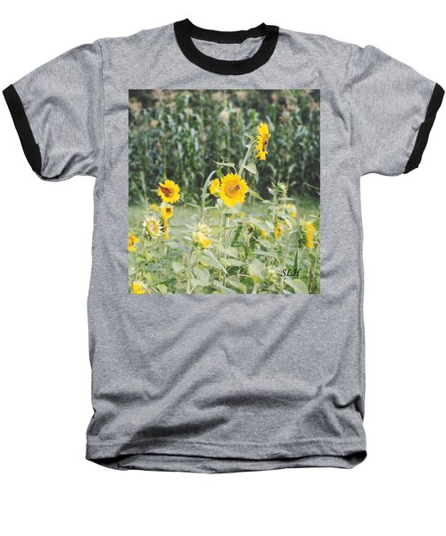 Butterfly On Sunflower Baseball T-Shirt
