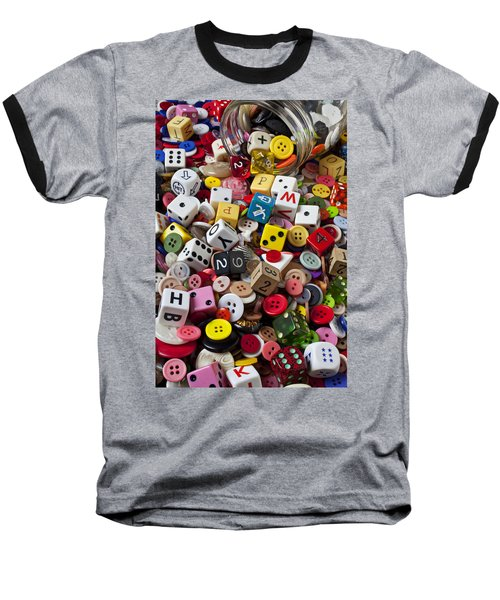 Buttons And Dice Baseball T-Shirt