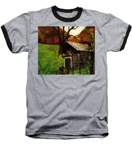 Baseball T-Shirt featuring the painting Cabin By A Hillside by Christy Saunders Church