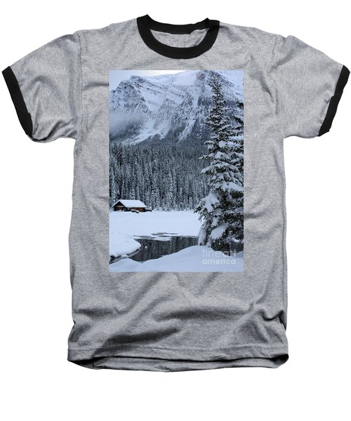 Cabin In The Snow Baseball T-Shirt by Alyce Taylor