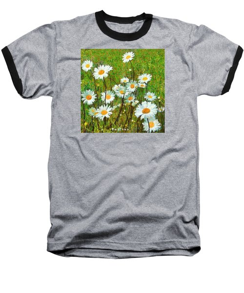 Baseball T-Shirt featuring the painting Camomiles Field by Dragica  Micki Fortuna