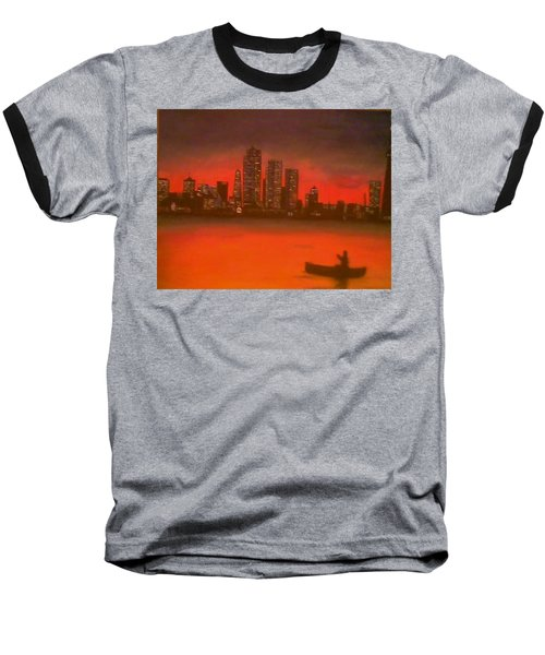 Baseball T-Shirt featuring the painting Canoe By The City by Christy Saunders Church