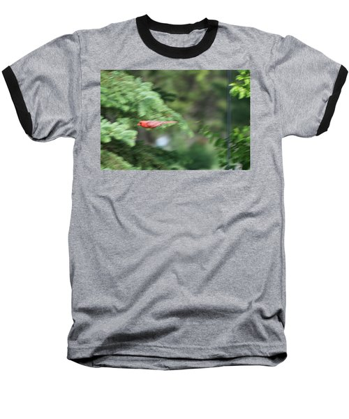 Baseball T-Shirt featuring the photograph Cardinal In Flight by Thomas Woolworth