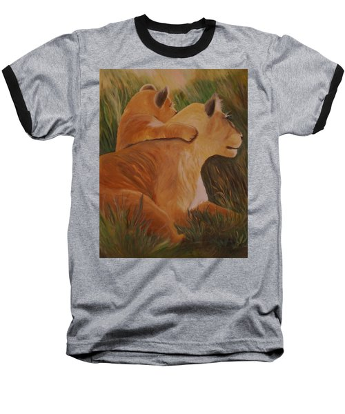 Baseball T-Shirt featuring the painting Cat Family by Christy Saunders Church