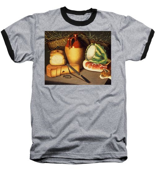 Cat Mouse Bacon And Cheese Baseball T-Shirt by Anonymous