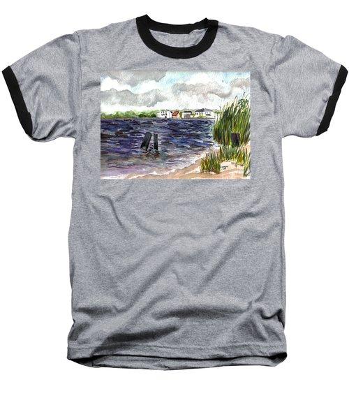 Baseball T-Shirt featuring the painting Cedar Beach by Clara Sue Beym