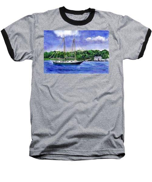 Baseball T-Shirt featuring the painting Cedar Beach Schooner by Clara Sue Beym