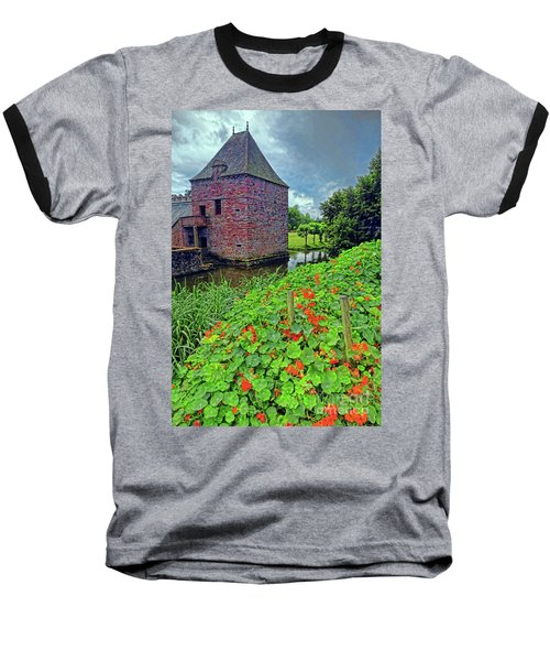 Baseball T-Shirt featuring the photograph Chateau Tower And Nasturtiums by Dave Mills