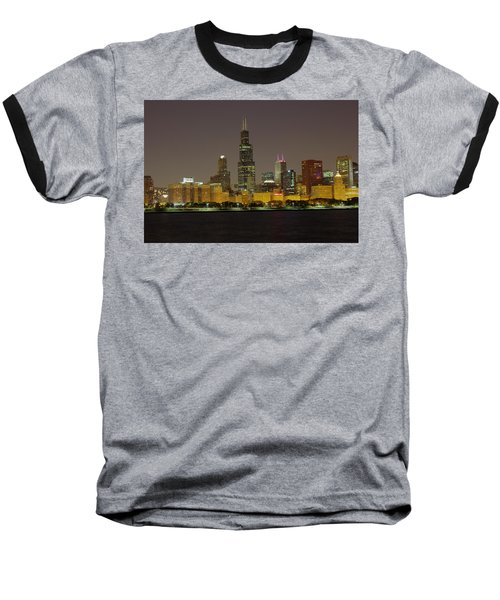 Chicago Night Skyline Baseball T-Shirt