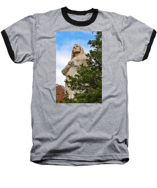Chief Blackhawk Statue Baseball T-Shirt