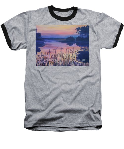 Baseball T-Shirt featuring the painting Chincoteaque Island Sunset by Julie Brugh Riffey