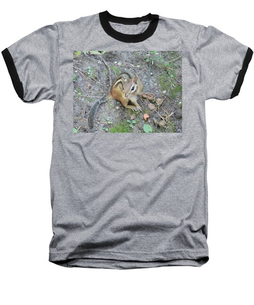 Baseball T-Shirt featuring the photograph Chipmunk Feast by Laurel Best