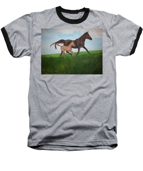 Baseball T-Shirt featuring the painting Chloe's Dream by George Pedro