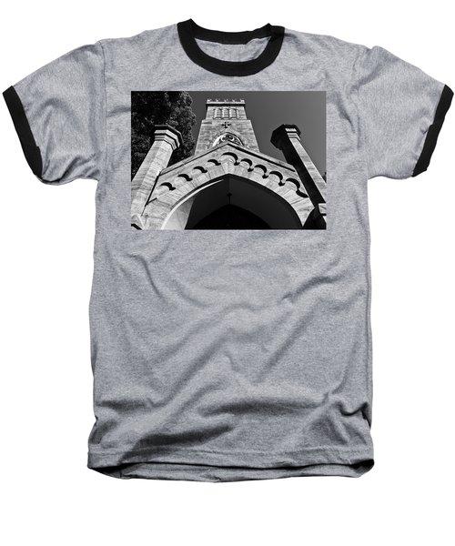 Church Facade In Black And White Baseball T-Shirt