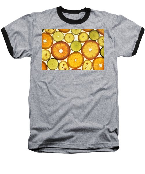 Citrus Slices Baseball T-Shirt by Photo Researchers