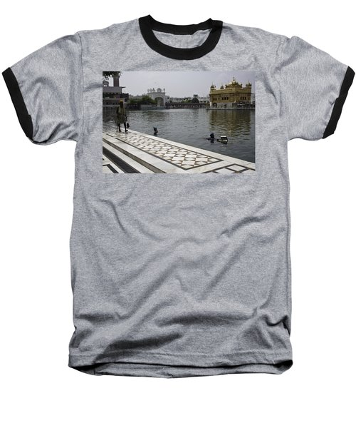 Baseball T-Shirt featuring the photograph Clearing The Sarovar Inside The Golden Temple Resorvoir by Ashish Agarwal